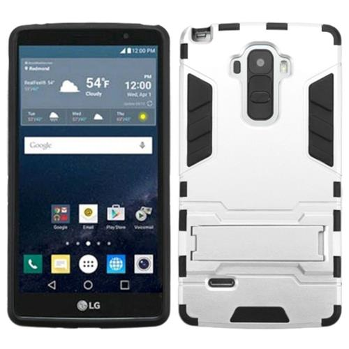 Insten Hard Hybrid Rubber Coated Silicone Case w/stand For LG G Stylo, Silver/Black