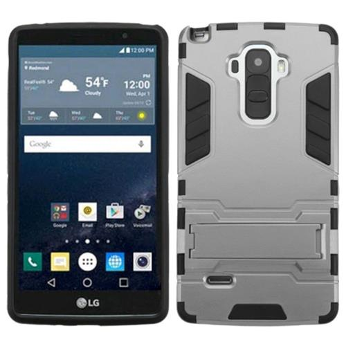 Insten Hard Dual Layer Rubberized Silicone Cover Case w/stand For LG G Stylo, Gray/Black