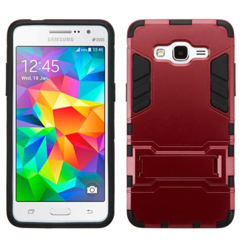 Insten Hard Hybrid Rubber Coated Silicone Case w/stand For Samsung Galaxy Grand Prime, Red/Black