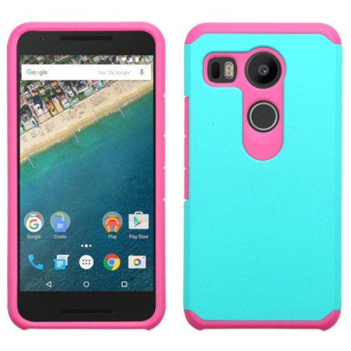 Insten Hard Hybrid Rubberized Silicone Cover Case For LG Google Nexus 5X, Teal/Hot Pink