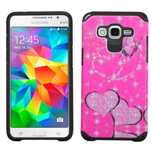 Insten Butterfly Hard Hybrid Rubber Silicone Case For Samsung Galaxy Grand Prime, Hot Pink/Black