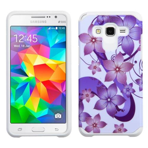 Insten Flower Hybrid Rubberized Silicone Case For Samsung Galaxy Grand Prime,Purple/White