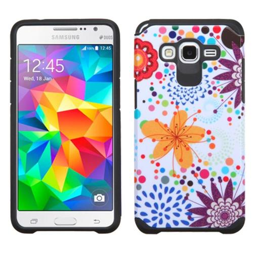 Insten Flower Hard Dual Layer Rubber Silicone Case For Samsung Galaxy Grand Prime,Colorful/White