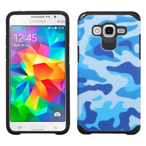 Insten Camouflage Hard Dual Layer Rubber Silicone Case For Samsung Galaxy Grand Prime, Blue/Black