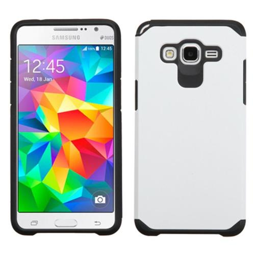 Insten Hard Dual Layer Rubber Coated Silicone Case For Samsung Galaxy Grand Prime, White/Black