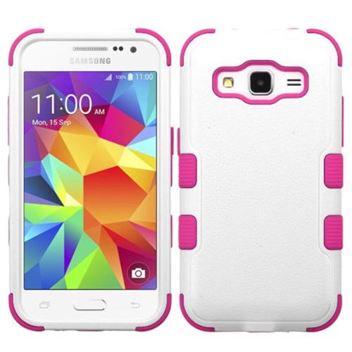 Insten Tuff Hard Hybrid Silicone Cover Case For Samsung Galaxy Core Prime, White/Hot Pink