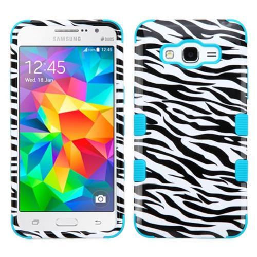 Insten Tuff Zebra Hard Hybrid Rubber Silicone Case For Samsung Galaxy Grand Prime,Black/White