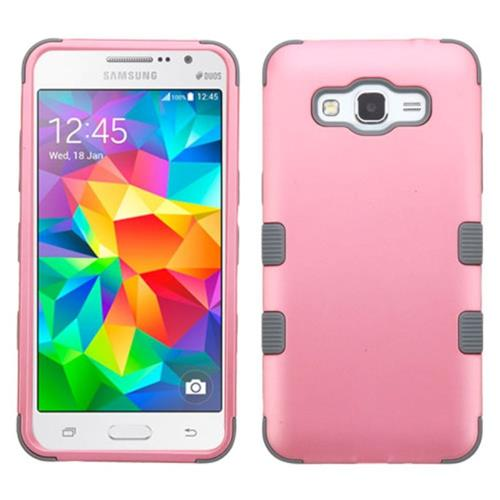 Insten Tuff Hard Hybrid Rubber Coated Silicone Case For Samsung Galaxy Grand Prime, Pink/Gray
