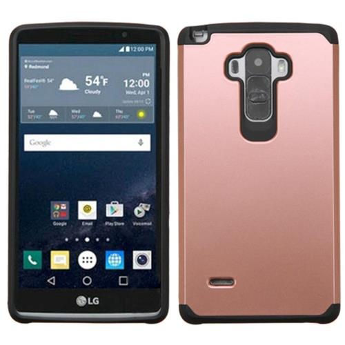 Insten Hard Dual Layer Rubber Coated Silicone Case For LG G Stylo, Rose Gold/Black