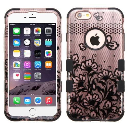 Insten Tuff Lace Flowers Hard Dual Layer Rubber Silicone Case For Apple iPhone 6 Plus/6s Plus,Black