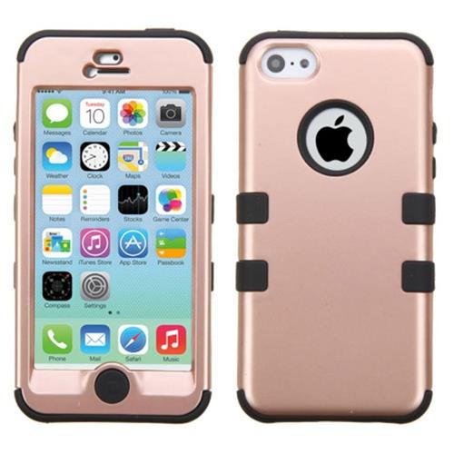 Insten Tuff Hard Hybrid Rubber Silicone Case For Apple iPhone 5C, Rose Gold/Black