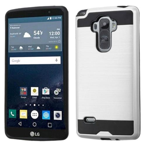 Insten Hard Hybrid Rubber Silicone Case For LG G Stylo, Silver/Black