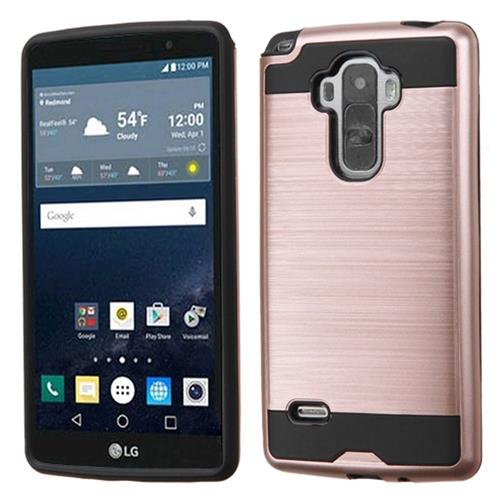 Insten Hard Hybrid Rubber Silicone Cover Case For LG G Stylo, Rose Gold/Black