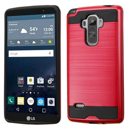 Insten Hard Hybrid Rubber Silicone Cover Case For LG G Stylo, Red/Black