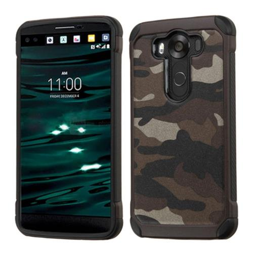Insten Camouflage Hard Hybrid Rubber Coated Silicone Cover Case For LG V10, Gray/Black