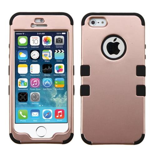 Insten Tuff Hard Dual Layer Silicone Cover Case For Apple iPhone 5/5S/SE, Rose Gold/Black