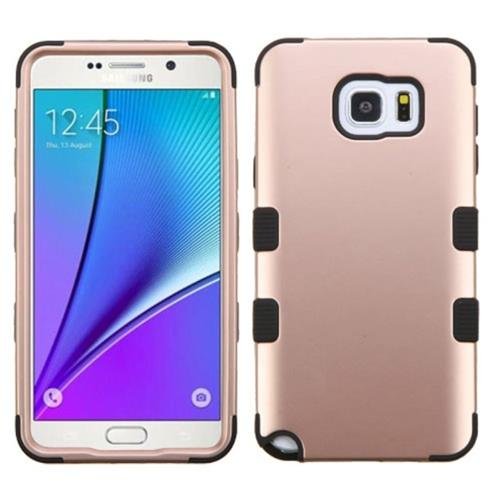 Insten Tuff Hard Dual Layer Rubber Silicone Cover Case For Samsung Galaxy Note 5, Rose Gold/Black