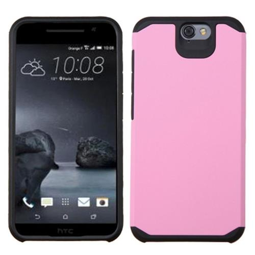 Insten Hard Dual Layer Rubber Silicone Case For HTC One A9, Pink/Black