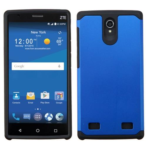 Insten Hard Dual Layer Rubber Coated Silicone Case For ZTE ZMAX 2, Blue/Black