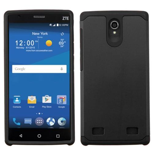 Insten Hard Hybrid Rubber Coated Silicone Cover Case For ZTE ZMAX 2, Black