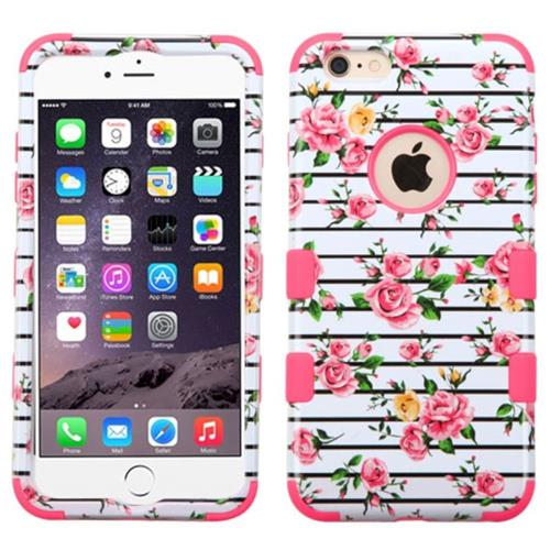 Insten Tuff Fresh Roses Hybrid Transparent Silicone Case For Apple iPhone 6 Plus/6s Plus,Pink/White