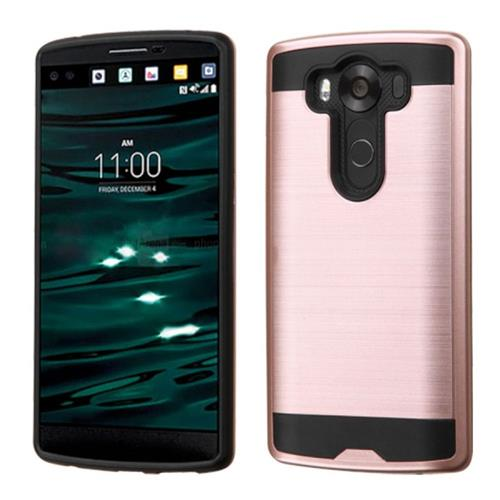Insten Hard Dual Layer Silicone Case For LG V10, Rose Gold/Black