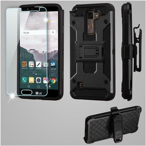 Insten Kinetic Hard Hybrid TPU Case w/Holster/Installed For LG Stylo 2 Plus, Black