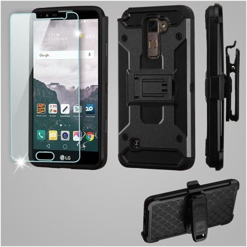 Insten Kinetic Hard Hybrid TPU Case w/Holster/Installed For LG Stylo 2 Plus, Black
