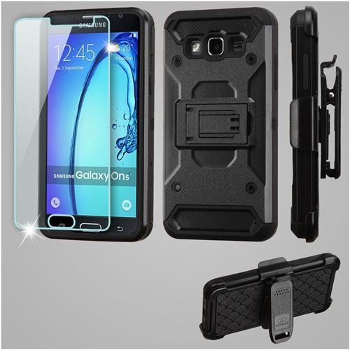 Insten Kinetic Hard Dual Layer TPU Case w/Holster/Installed For Samsung Galaxy On5, Black