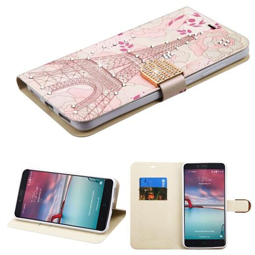 Insten Eiffel Tower Leather Case For ZTE Grand X Max 2/Imperial Max /Kirk/Max Duo 4G/Zmax Pro,Pink