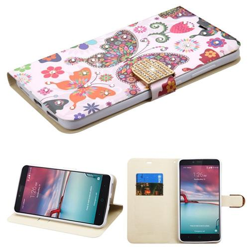 Insten Butterfly Wonderland Leather Case For ZTE Grand X Max 2/Imperial Max /Max Duo 4G,Purple