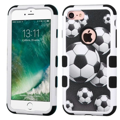 Insten Tuff Soccer Ball Collage Hybrid Dual Layer Case For Apple iPhone 7/iPhone 8,Black/White