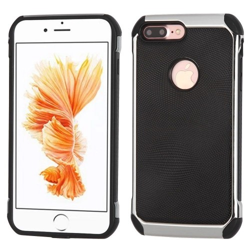 Insten Hard Dual Layer TPU Cover Case For Apple iPhone 7 Plus/8 Plus, Black/Silver