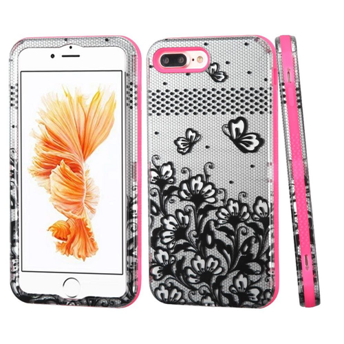 Insten Verge Lace Flowers Hard Dual Layer Case For Apple iPhone 7 Plus/8 Plus,Black/Pink