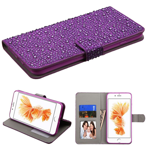 Insten Leather Diamante Case w/stand/card holder For Apple iPhone 7 Plus/8 Plus,Purple