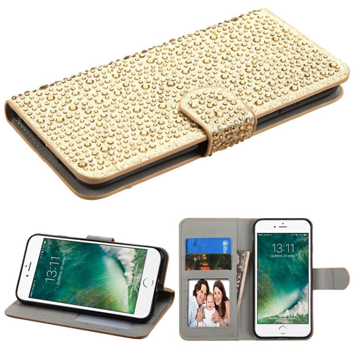 Insten Leather Diamond Case w/stand/card holder For Apple iPhone 7/iPhone 8,Gold