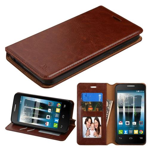 Insten Leather Fabric Case w/stand/card slot For Alcatel One Touch Allura/Fierce 4/Pop 4+,Brown