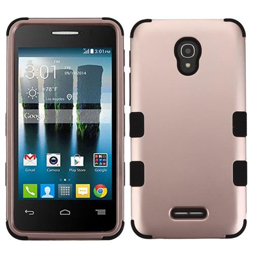 Insten Hard Dual Layer Silicone Case For Alcatel One Touch Allura/Fierce 4/Pop 4+,Rose Gold/Black