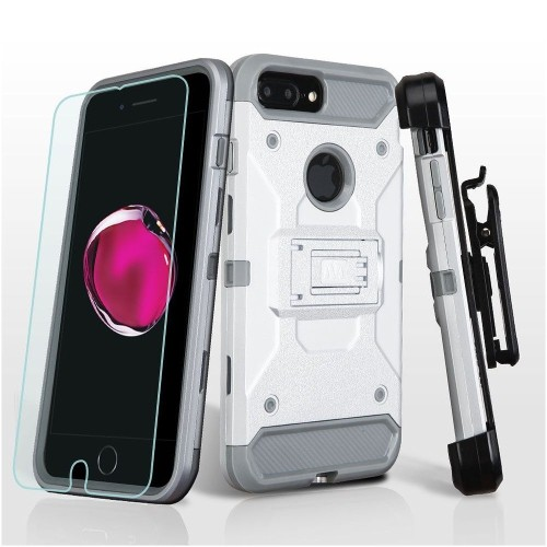 Insten Hard Dual Layer Plastic TPU Case w/stand/Holster For Apple iPhone 7 Plus/8 Plus,Silver/Gray