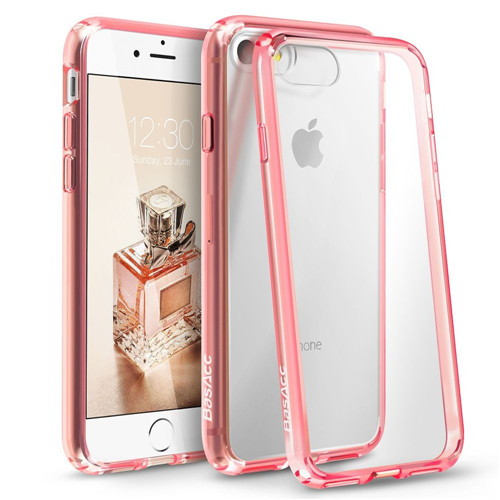BasAcc Hard Crystal TPU Cover Case For Apple iPhone 7/iPhone 8, Clear/Pink