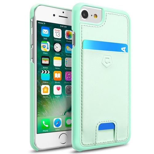 Cobble Pro Leather Fabric Case w/card holder For Apple iPhone 6/6s/7, Mint Green