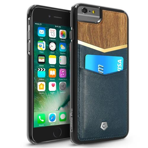 Cobble Pro Leather Fabric Bamboo Wood Card Case For Apple iPhone 6 Plus/6s Plus,Dark Blue/Brown