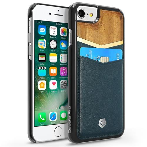 Cobble Pro Leather Fabric Bamboo wood Case w/card holder For Apple iPhone 6/6s/7,Dark Blue/Brown