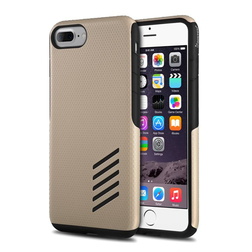 Insten Hard Hybrid Silicone Cover Case For Apple iPhone 7 Plus/8 Plus, Black/Gold