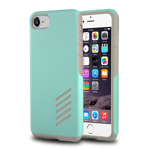 Insten Hard Dual Layer Rubber Silicone Cover Case For Apple iPhone 7/iPhone 8, Light Gray/Mint Green
