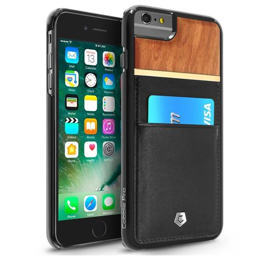 Cobble Pro Leather Fabric Bamboo wood Case w/card slot For Apple iPhone 6 Plus/6s Plus,Black/Brown