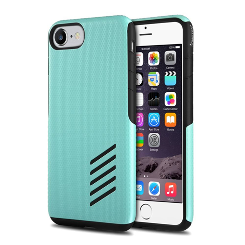 Insten Hard Hybrid Silicone Cover Case For Apple iPhone 7/iPhone 8, Black/Mint Green