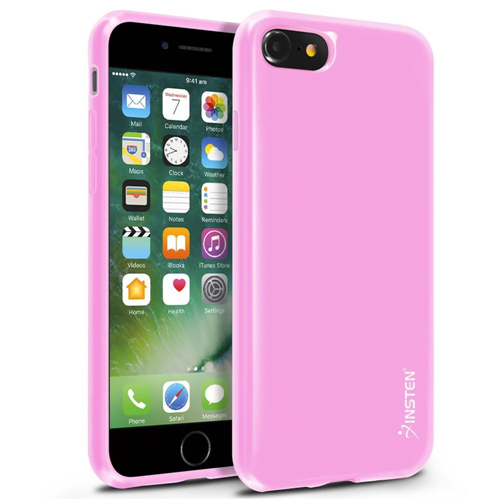 Insten Jelly TPU Cover Case For Apple iPhone 7/iPhone 8, Light Pink