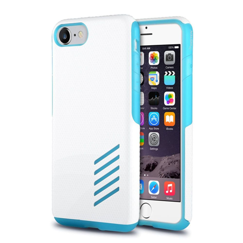 Insten Hard Hybrid Rubberized Silicone Case For Apple iPhone 7/iPhone 8, Light Blue/White