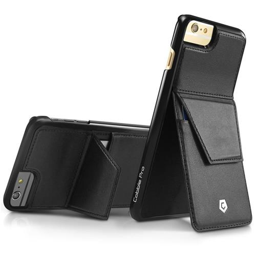 Cobble Pro Leather Fabric Case w/stand/card slot For Apple iPhone 6 Plus/6s Plus, Black